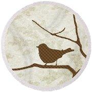 Brown Bird Silhouette Modern Bird Art Round Beach Towel
