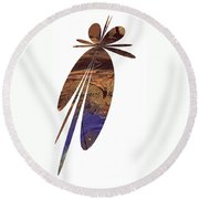 Brown Butterfly Round Beach Towel