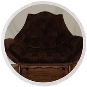 Brown Chair Round Beach Towel