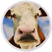 Brown Cow Round Beach Towel