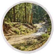 Brown Dirty Road Under Spring Sun Rays Round Beach Towel
