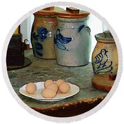 Brown Eggs And Ginger Jars Round Beach Towel
