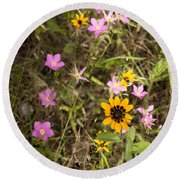 Brown Eyed Susans With Rose Gentian Flowers Round Beach Towel