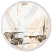 Brown Gray Abstract 12m4 Round Beach Towel