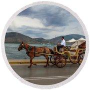 Brown Horse Drawn Carriage Round Beach Towel