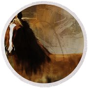 Brown Horse Pose Round Beach Towel