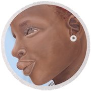 Brown Introspection Round Beach Towel by Kaaria Mucherera