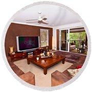 Brown Living Room Round Beach Towel