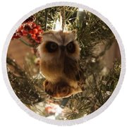 Brown Owl Round Beach Towel