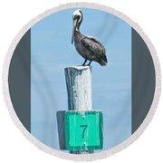 Brown Pelican On Marker 7 Round Beach Towel