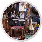 Brown Pelican Visiting Mexican Beach Bar Round Beach Towel