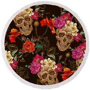 Brown Skulls And Flowers Round Beach Towel