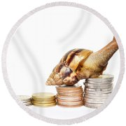 Brown Snail Climbing To The Top Of The Pile Of Coins  Round Beach Towel
