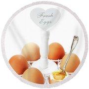 Brown Soft Boiled Eggs  Round Beach Towel