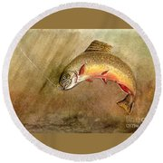 Brown Trout Round Beach Towel