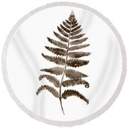 Fern Leaf Botanical Poster, Brown Wall Decor Modern Home Art Print, Abstract Watercolor Painting Round Beach Towel