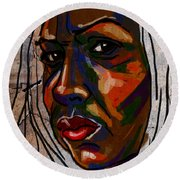 Brown Woman On Stone Round Beach Towel