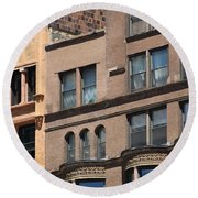 Brownstone Buildings In Chi Town Round Beach Towel