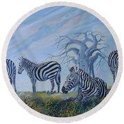 Browsing Zebras Round Beach Towel