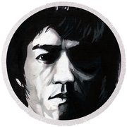 Bruce Lee Portrait Round Beach Towel