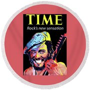 Bruce Springsteen Time Magazine Cover 1980s Round Beach Towel