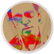 Bruce Springsteen Watercolor Portrait On Worn Distressed Canvas Round Beach Towel by Design Turnpike