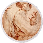 Bruegel: Painter, 1565 Round Beach Towel