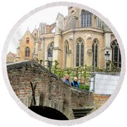 Bruges Bridge 3 Round Beach Towel