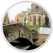 Bruges Bridge 4 Round Beach Towel