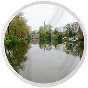 Bruges Minnewater 2 Round Beach Towel