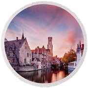 Bruges Sunset Round Beach Towel by Barry O Carroll