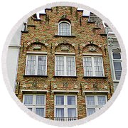 Bruges Window 15 Round Beach Towel