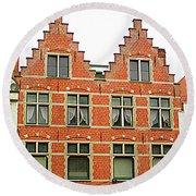 Bruges Window 9 Round Beach Towel