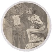 Brujas ? Volar (witches Preparing To Fly) [verso] Round Beach Towel