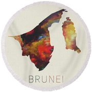 Brunei Watercolor Map Round Beach Towel
