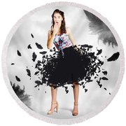 Brunette Pin-up Woman In Gorgeous Feather Skirt Round Beach Towel