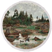Bruno Liljefors,   Landscape From Uppland. 2 Round Beach Towel