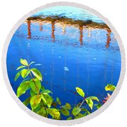 Brunswick Maine Walking Bridge Round Beach Towel