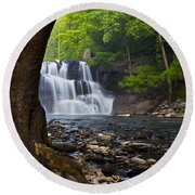 Brush Creek Falls II Round Beach Towel