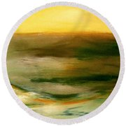 Brushed 4 - Vertical Sunset Round Beach Towel