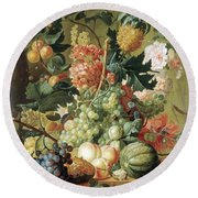 Brussel Fruits 1789 Round Beach Towel