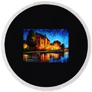Brussels - Castle Saventem Round Beach Towel