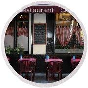 Brussels - Restaurant La Villette Round Beach Towel by Carol Groenen