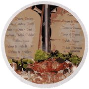 Brussels Menu - Digital Round Beach Towel