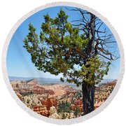 Bryce Canyon Fairyland Point Portrait Round Beach Towel