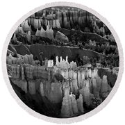 Bryce Canyon In Black And White Round Beach Towel
