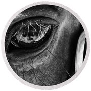 Bryce Canyon National Park Horse Bw Round Beach Towel
