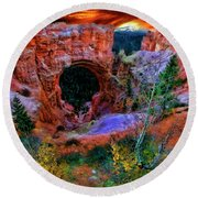 Bryce Canyon Natural Bridge Round Beach Towel