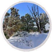 Bryce Canyon Snowfall Round Beach Towel
