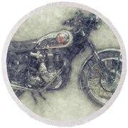 Bsa Gold Star 1 - 1938 - Motorcycle Poster - Automotive Art Round Beach Towel